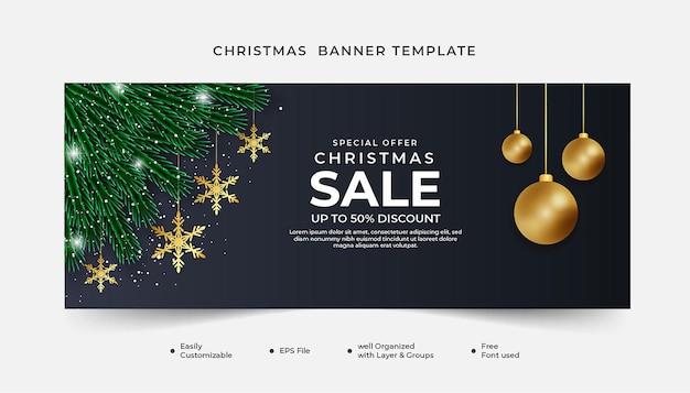 Realistyczny transparent świąteczny wyprzedaż zielony liść z ozdobą świąteczną