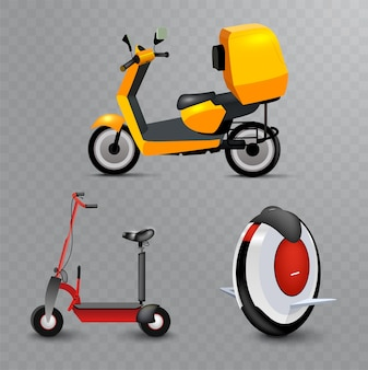 Realistyczny transport miejski młodzieży na przezroczystym tle. hulajnoga, koło mono i rower. nowoczesny alternatywny transport miejski. ekologiczny transport nastolatka, odizolowany.
