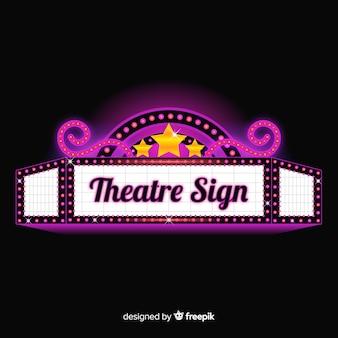 Realistyczny uroczy retro teatr znak