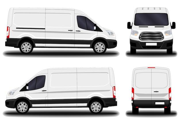 Realistyczny van dostawczy. przedni widok; widok z boku; widok z tyłu.