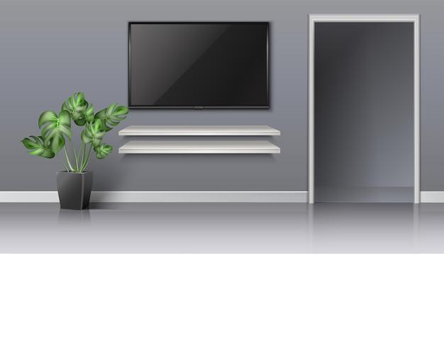 Realistyczny wektor salon z otwartymi drzwiami i czarnym ekranem na ścianie