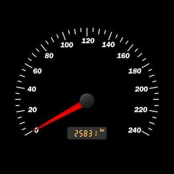 Realistyczny wektor samochodowy prędkościomierz interfejs. panel deski rozdzielczej