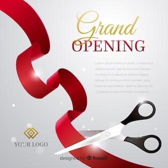 Realistyczny wielki plakat otwarcia z nożyczkami