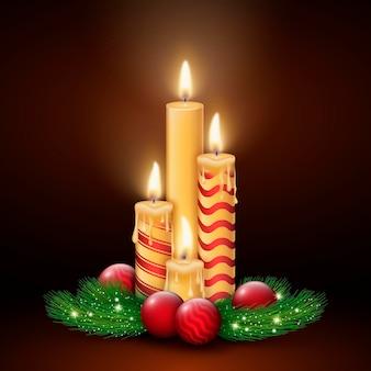 Realistyczny wieniec adwentowy ze świecami