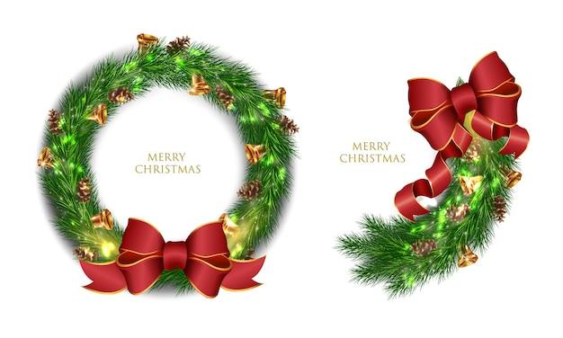Realistyczny wieniec bożonarodzeniowy i gałąź