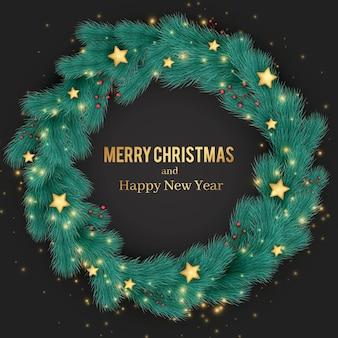 Realistyczny wieniec bożonarodzeniowy z gwiazdami