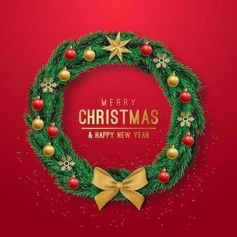 Realistyczny wieniec świąteczny na czerwonym tle.