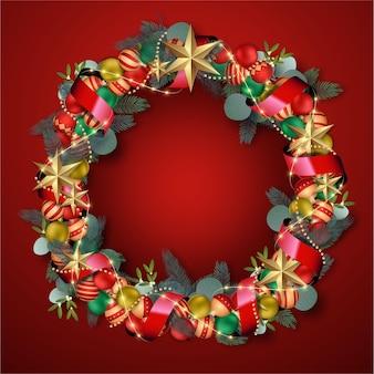 Realistyczny wieniec świąteczny z gwiazdami