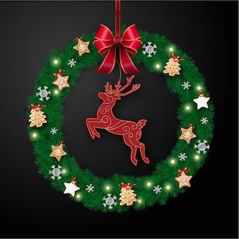 Realistyczny wieniec świąteczny z reniferami