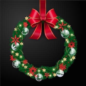 Realistyczny wieniec świąteczny ze wstążką