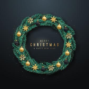Realistyczny wieniec świąteczny.