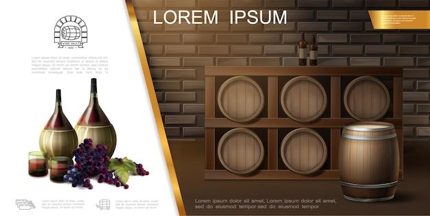 Realistyczny winiarstwo nowoczesny szablon z butelkami, szklankami, kiściami winogron i drewnianymi beczkami pełnymi wina na ilustracji piwnicy