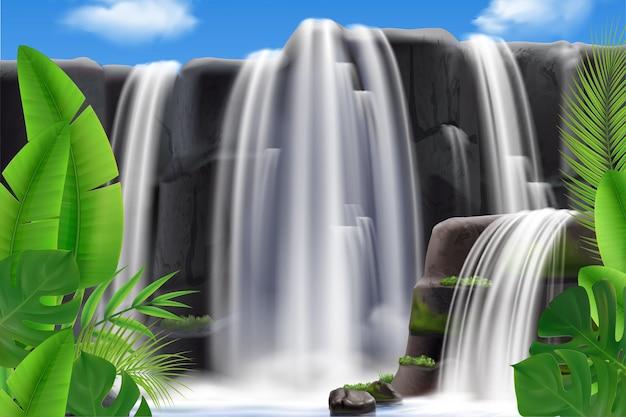Realistyczny wodospad tropikalny z ilustracją liści
