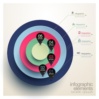 Realistyczny wykres kołowy z szablonem elementów infografiki znacznika lokalizacji