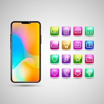 Realistyczny wyświetlacz na smartfona z różnymi aplikacjami