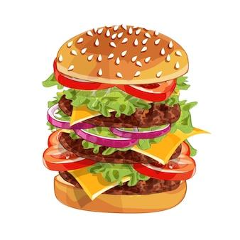 Realistyczny wzór ilustracji burgera, pysznego hamburgera ze składnikami sałata, cebula, pasztecik, pomidor, ser, bułka na białym tle