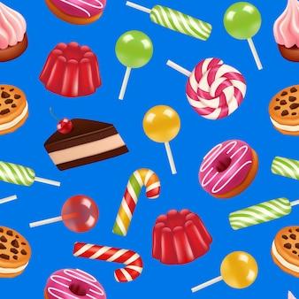 Realistyczny wzór słodkich cukierków lub ilustracja