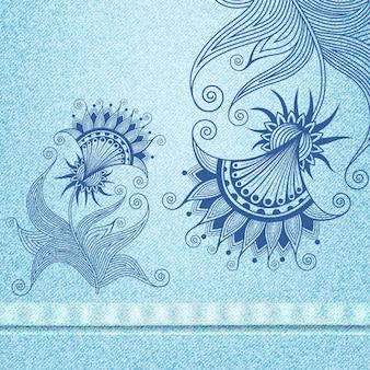 Realistyczny wzór tekstury dżinsów i haft