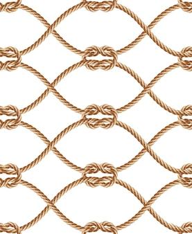 Realistyczny wzór z brązowymi skręconymi sznurami i pętlami.