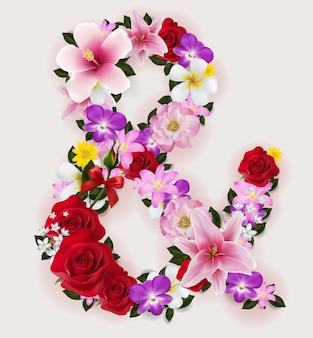 Realistyczny z pięknym kwiatem czcionki.