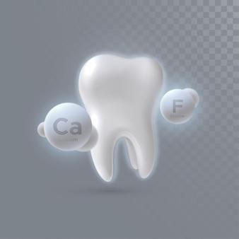 Realistyczny ząb 3d z cząsteczkami wapnia i fluoru na przezroczystym tle