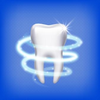 Realistyczny ząb. na białym tle lśniące zęby 3d. opieka stomatologiczna, czyste zęby trzonowe. ikona stomatologii, ilustracja ochrony. ząb zdrowy, zdrowie stomatologii