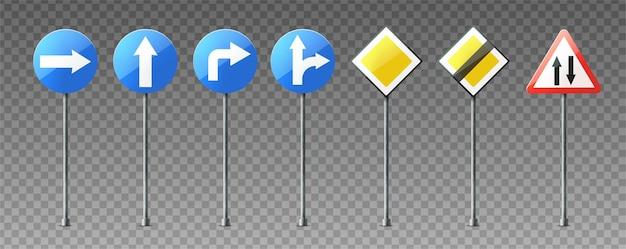 Realistyczny zbiór ostrzegawczych i informacyjnych znaków drogowych wskazujących kierunki