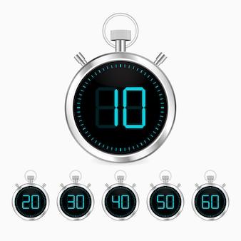 Realistyczny zegar stoper wektor chrom zegar