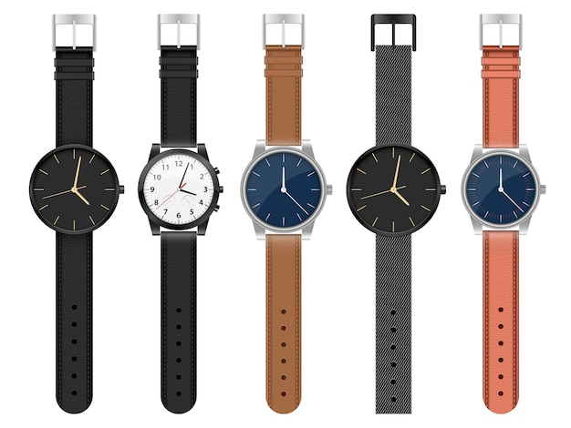 Realistyczny zegarek ustawia ilustrację odizolowywającą na białym tle