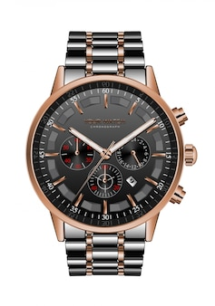 Realistyczny zegarowy chronograf czarny stalowy miedziany luksus