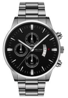Realistyczny zegarowy zegarek ze stali nierdzewnej, czarny, luksusowy