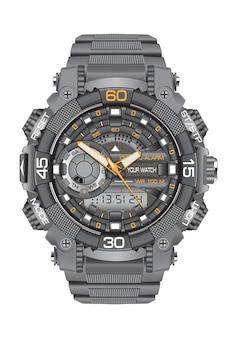 Realistyczny zegarowy zegarka sporta chronografu bielu tło.