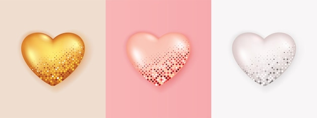 Realistyczny zestaw 3d kształt serca na białym tle.