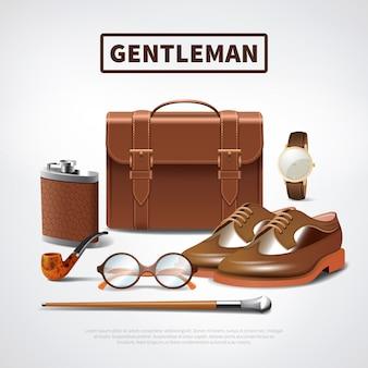 Realistyczny zestaw akcesoriów gentleman