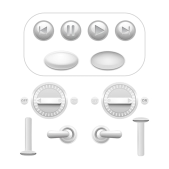 Realistyczny zestaw analogowych przycisków i wyzwalaczy