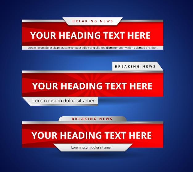 Realistyczny zestaw banerów dolnych trzecich dla kanału informacyjnego news