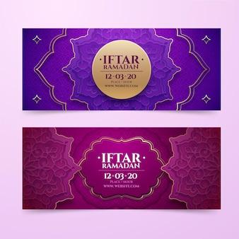 Realistyczny zestaw banerów iftar