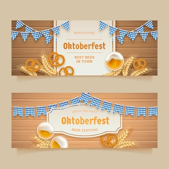 Realistyczny zestaw banerów oktoberfest