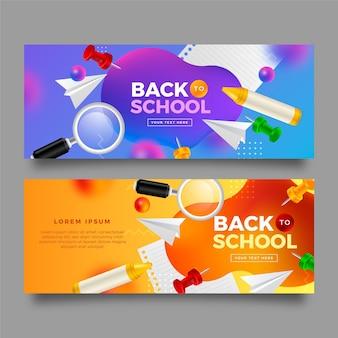 Realistyczny zestaw banerów z powrotem do szkoły