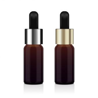 Realistyczny zestaw brązowych butelek olejku eterycznego. butelka kosmetyczna lub medyczna fiolka, kolba, ilustracja flakonu