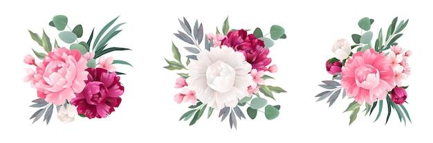 Realistyczny zestaw bukietów eukaliptusowych z izolowanymi liśćmi i kwiatami