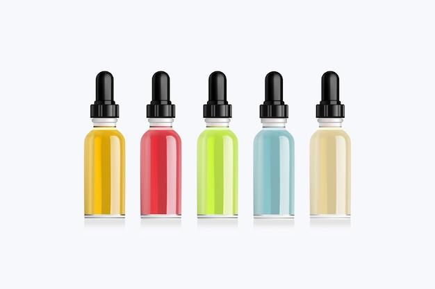 Realistyczny zestaw butelek makieta ze smakami elektronicznego papierosa o różnych owocowych smakach. butelka z zakraplaczem bez etykiet. ilustracja.