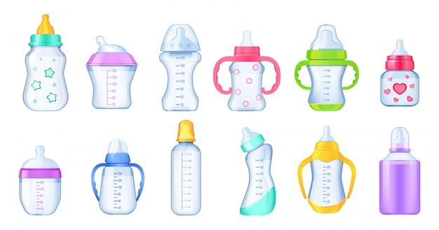 Realistyczny zestaw butelek mleka dla niemowląt.