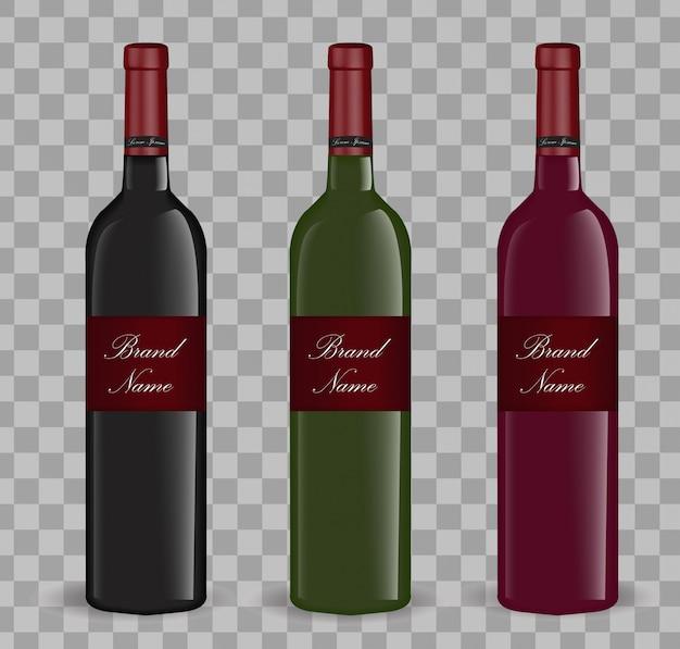 Realistyczny zestaw butelek wina. na białym tle. szklane butelki . ilustracja