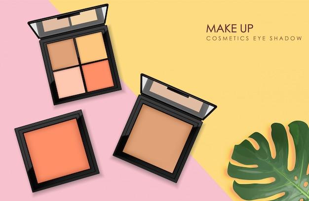 Realistyczny zestaw cieni do powiek, makijaż palety opakowań, kosmetyk, baner z tropikalnymi liśćmi