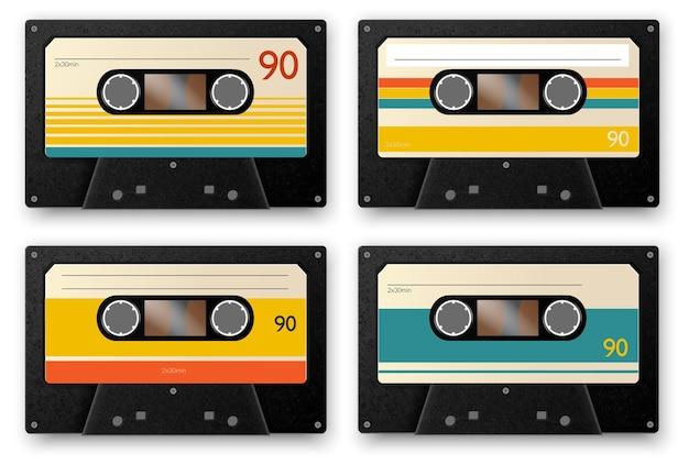 Realistyczny zestaw czterech kaset z muzyką vintage na białym tle z taśm audio z ilustracją cieni