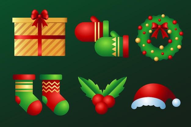 Realistyczny zestaw dekoracji świątecznych