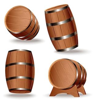 Realistyczny zestaw drewnianych beczek. na białym tle beczki dębowe z ciałem drewna i żelaznymi pierścieniami na białym tle. wektor realistyczna beczka na whisky, rum, koniak, wino, piwo, kwas chlebowy lub inne napoje.