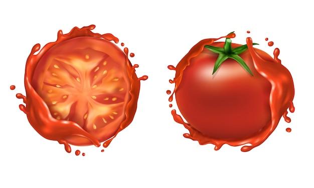 Realistyczny zestaw dwóch czerwonych dojrzałych pomidorów, całe świeże warzywa i pół