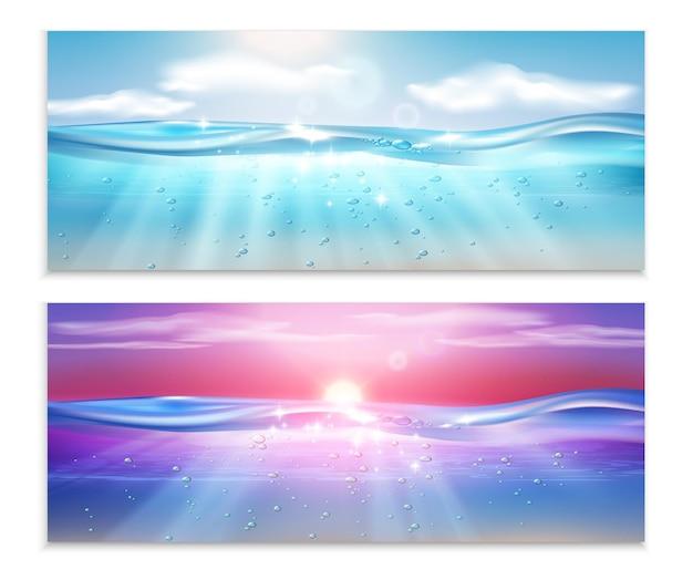 Realistyczny zestaw dwóch poziomych banerów podwodnych fal oceanicznych